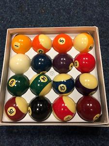 "S/H used Aramith American size 2 1/4"" ball set + new Aramith 2 1/4"" cue ball"