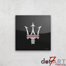 "24""X24"" Maserati Badge Luxury Black Open Edition Print"