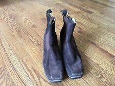 "Rockport Womens Brown Suede Ankle Wedge Heel Slip On Boots Sz 8.5M - 3"" Heel"
