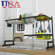 Over The Sink Dish Drying Rack Shelf Stainless Steel Kitchen W/ Cutlery Holder