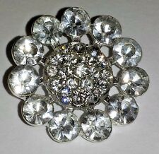 2 Silver Grade A Clear Rhinestone Metal Crystal Sewing Craft Buttons 27mm M0216