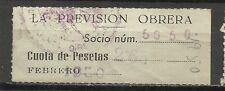 1798-SELLO ESPAÑA CUOTA LA PREVISION OBRERA EN CATALAN Y CASTELLANO,1950