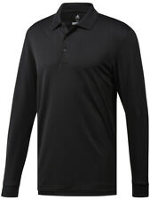 Adidas Essentials Long Sleeve Polo - Black -  Mens