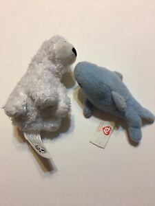 Beanie Babies Set Of 2 Mini Polar Bear And Mini Dolphin