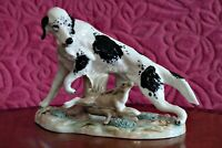 Vintage Porcelain Hand Painted Dog with Hare Figurine- Spain
