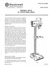 "Delta Rockwell - 15"" Utility Drill Press Instructions"