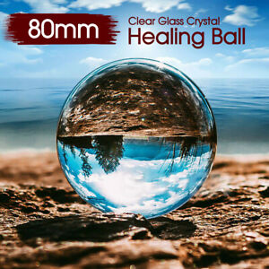 Clear Glass Crystal Healing Ball 80mm Photography Lens Ball Sphere Decoration