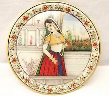 Vtg Hand Painted Marble Plate Plaque Desi Woman With Bird India Ornate Floral