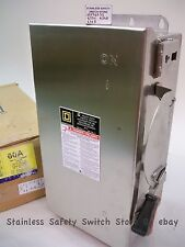 Square D 316 Stainless HU362SS 60a 600v Non-Fused Safety Switch 5 Available NEW