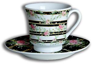 Shabby Chic 12 Piece Tea Set - Porcelain, Ceramic, Cup & Saucer (Set of 6)