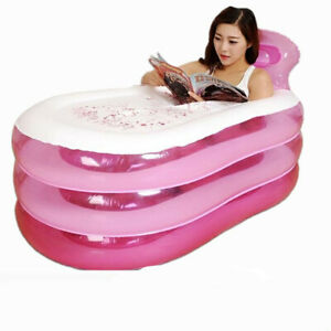 Foldable Adult Pink Inflatable Bath Tub Blow Up Bathtub Shower Double leakproof