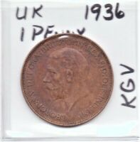 UK Great Britain (England) 1936 Penny King George V as pictured
