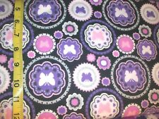 B184 Purple Dot Butterflies circle pattern Flannel Material New 2 yards