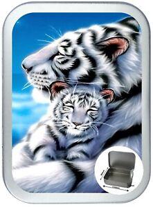 White Tiger Cub 2oz / 150ml Silver Hinged Tobacco Tin, Cigarette Tin, Storage