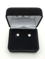 KAY JEWELERS 14K White Gold BEZEL 1 Ct Solitaire Genuine Diamond Studs Earrings