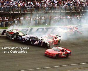RUSTY WALLACE RICKY RUDD CHARLOTTE 1998 NASCAR CRASH 8X10 PHOTO WINSTON CUP