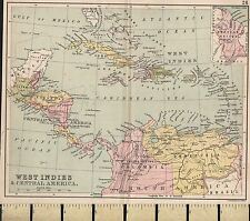 c1860 Victorian Map ~ West Indies & Central America ~ Jamaica Cuba Guatemala etc