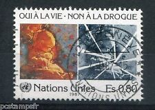 NATIONS UNIES - ONU - GENEVE, 1987, timbre 156, LUTTE CONTRE LA DROGUE, oblitéré