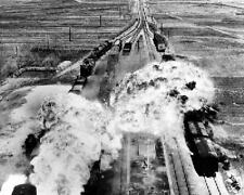 ATTACK ON NORTH KOREAN TRAINS 8X10 PHOTO KOREAN WAR