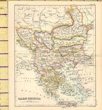 c1887 MAP ~ BALKAN PENINSULA ~ ROUMANIA BOSNIA TURKEY BULGARIA GREECE MOLDAVIA