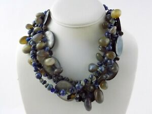 Sterling Silver Toggle Clasp Mother of Pearl Calcedony Agate Sodalite Necklace