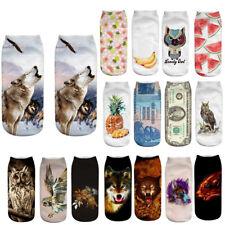 Cute Women Girls 3D Print Trainer Socks Ankle Socks Cotton Medium Sports Socks