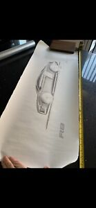 Audi R8 original hand-drawn Limited edition sketch  652/3000 VERY RARE