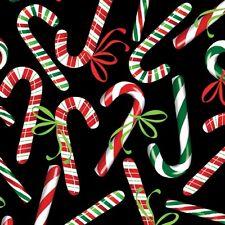 Christmas Fabric - Holiday Cheer Candy Cane Toss Black - Benartex Kanvas YARD