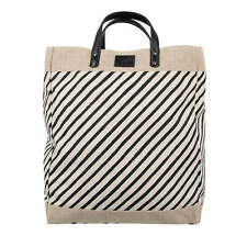 DOLCE & GABBANA Striped Linen Canvas Leather Shopper Bag Tote Beige Black 08818