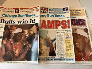 CHICAGO BULLS L NBA Championship Poster 1-3 Michael Jordan L.A. Lakers Sun-Times