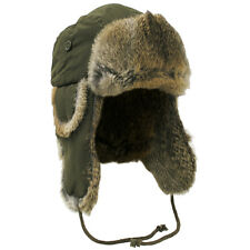 MFH Warm Winter Cap Russian Trapper Hat M Olive Green Ear Flaps Brown Rabbit Fur
