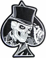 """Reaper Top Hat Skull Ace Of Spades Biker Rider Big XL Embroidered Back Patch 11"""""""