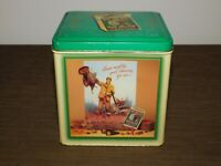 """VINTAGE 1989 6 1/4"""" HIGH RED MAN INDIAN CHIEF CHEWING TOBACCO TIN CAN *EMPTY*"""