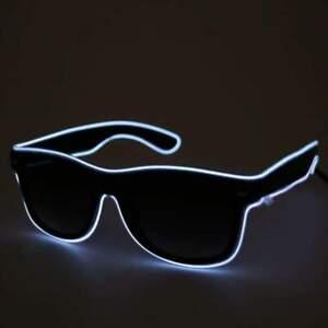 White Light up flashing Festival Part Glasses Black Lens Bright Neon LED Shades
