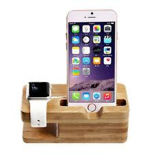 Q86 Bambus Ladestation für Apple Watch iWatch (38/42mm) & Handyhalter für iPhone