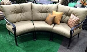 Patio sofa outdoor circular bench cast aluminum Santa Anita half moon seating