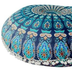 "Blue Peacock Mandala Cotton Indian Handmade Large Round Floor Cushion Cover 32"""