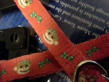 Tops E Side Col Fabric Cat Safety Collar. Monkey Face w/Red Face Clasp & Bell.