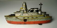Vintage Tin Litho Wind Up German Battleship TM Japan Penny Toy