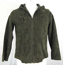 Christopher & Banks Washable Hooded Suede Jacket Women's Size Small Green