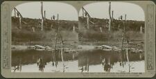 On the run! - In hot pursuit we cross the Canal du Nord - WW1 Stereoview