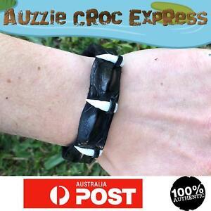 Australian Crocodile Leather Wrist Band/Bracelet w/ 4 REAL Crocodile Teeth Black