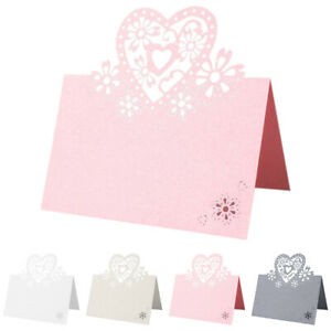 Table Name Place Cards Love Heart Wedding Party Pearlescent Laser Cut Cards Hot