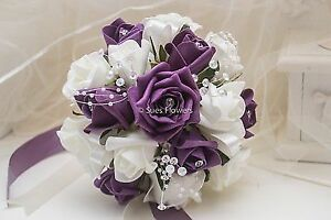 BRIDESMAID BOUQUET IN PLUM AND IVORY wedding flowers
