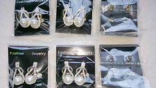 Joblot of 12 pairs Mixed colour Pearl Diamante stud Earrings - NEW Wholesale