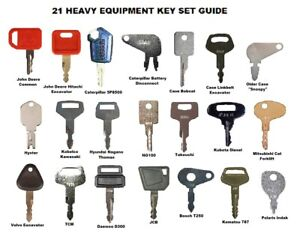 21 Heavy Construction Equipment Ignition Key Set JD CAT KOMATSU JCB Best Quality