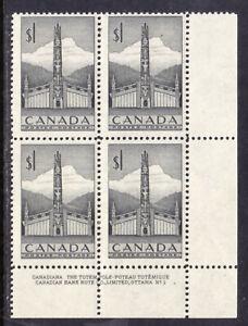 CANADA #321 $1 GREY, 1953 LR PLATE-1 CORNER BLOCK, F, MLH