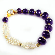 "83 Ct+ Natural Amethyst & Freshwater Rice Pearl Cz(Zircon) Designer Bracelet 7"""