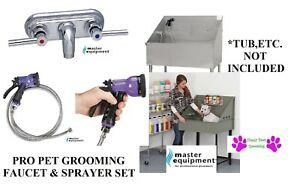 Pet GROOMING FAUCET&Stainless Steel Sprayer Hose&Valve Spray Nozzle Bath Tub SET