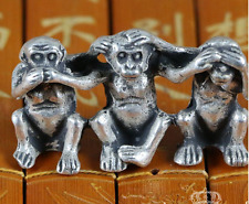 China old Collectibles Siver do not See Speak Hear Evil 3 Monkey Small Statues